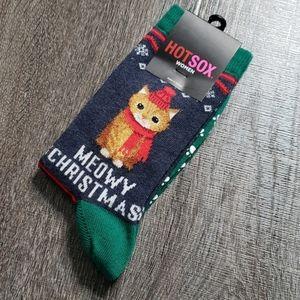 "Hot Sox ""Meowy Christmas"" Crew Socks"